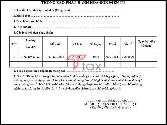 Thông báo về việc phát hành hóa đơn điện tử của công ty