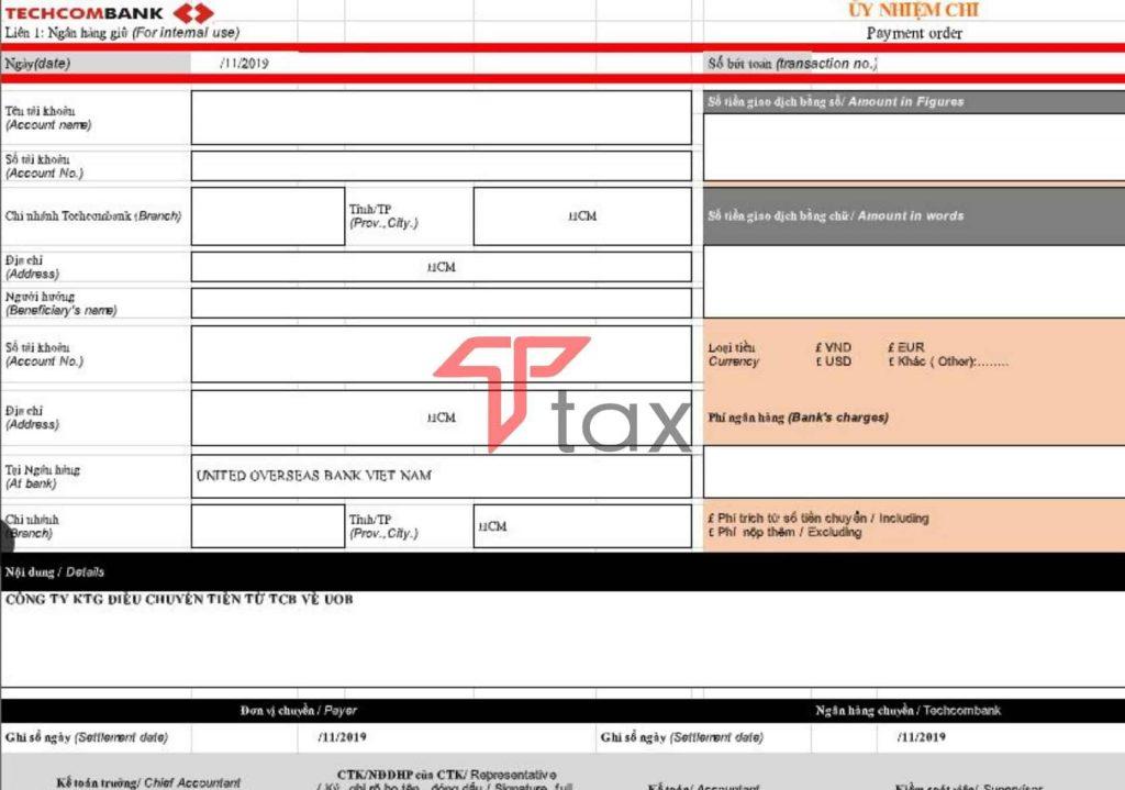 Ủy nhiệm chi TechcomBank Excel